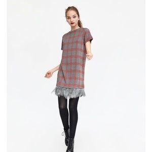 Zara | Plaid Feather Shift Dress